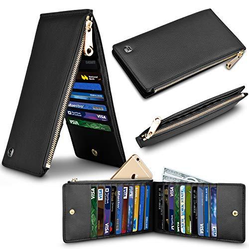 - Terdinero Wallet RFID Blocking Genuine Leather Credit Card Holder Zipper Purse Cell Phone Handbag