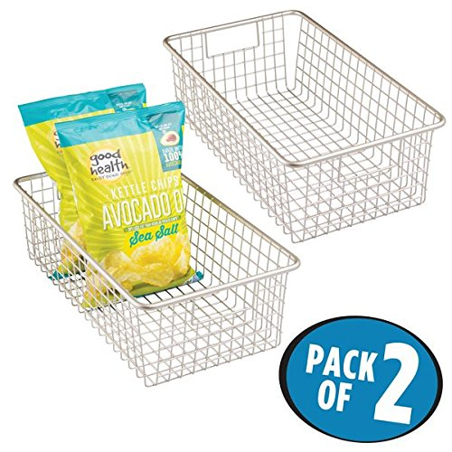 mDesign Household Wire Food Storage Organizer Bin Basket with Built-In Handles, Grid Design - for Kitchen Cabinets, Pantry, Closets or Bedrooms, Bathrooms - 16