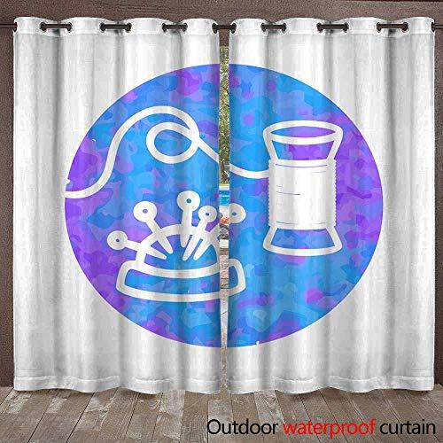 - RenteriaDecor Outdoor Balcony Privacy Curtain Vector Hand Drawn icon of Thread W84 x L108
