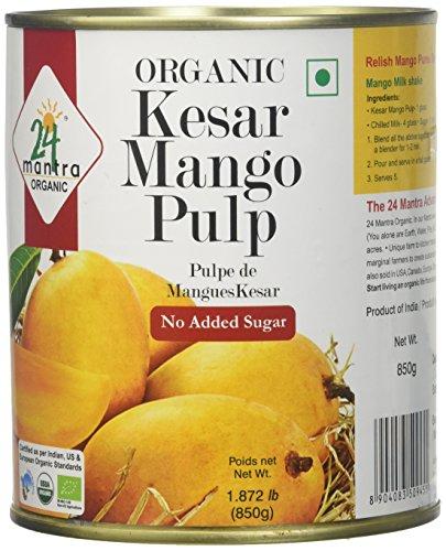 24Mantra Organic Kesar Mango Pulp, 850g