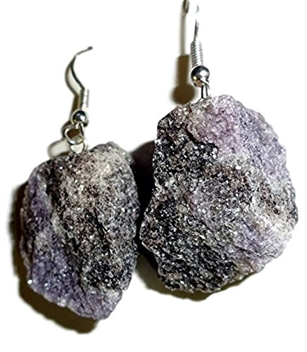 Sublime Gifts 1 Pair Raw Lepidolite Natural Free Form Crystal Healing Gemstone Earrings