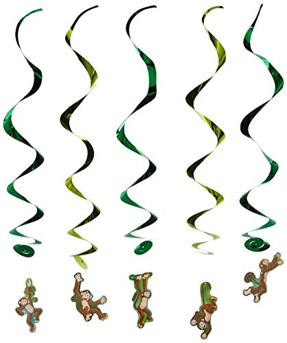 [Monkey Whirls Party Accessory (1 count) (5/Pkg)] (Jungle Monkey Costumes)