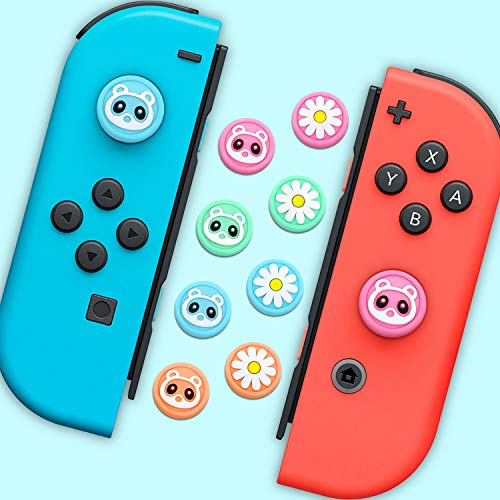 Thumb Grip Caps for Nintendo Switch & Lite Raccoon Flower 8 Pack Cute Design Soft Silicone Cover Joystick Caps Compatible with Switch Joy-Con, Pink&Blue& Green&Orange