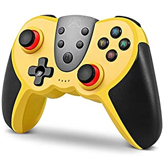 Wireless Controller for Nintendo Switch, KINGEAR Wireless Switch Pro Controller Remote Gamepad Joystick with NFC, Support Turbo, Motion Control, Dual Vibration and Gyro Axis (Yellow)