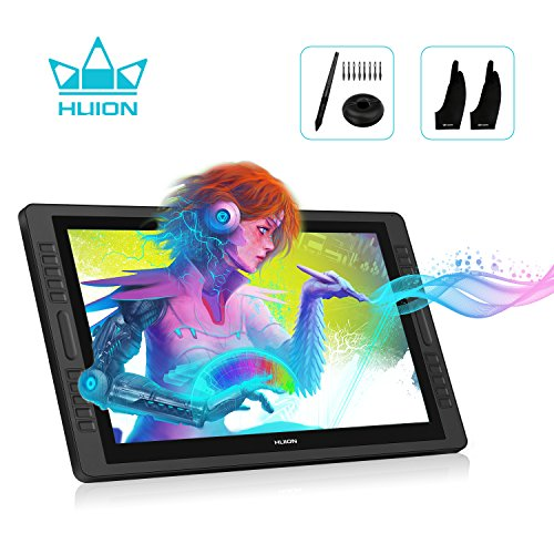 Huion KAMVAS PRO 22 Drawing Monitor Pen Display Battery-Free Stylus 8192 Pen Pressure with Two Artist Gloves and 10 Pen Nibs - 21.5 Inch