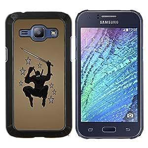 EJOOY---Cubierta de la caja de protección para la piel dura ** Samsung Galaxy J1 J100 ** --Ninja Star Warrior