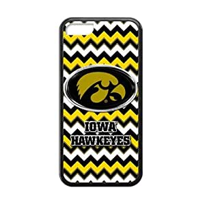 MMZ DIY PHONE CASEGeneric Customize Unique Otterbox--NCAA Iowa Hawkeyes Team Logo Chevron Plastic and TPU Black and White Case Cover for iPhone5C