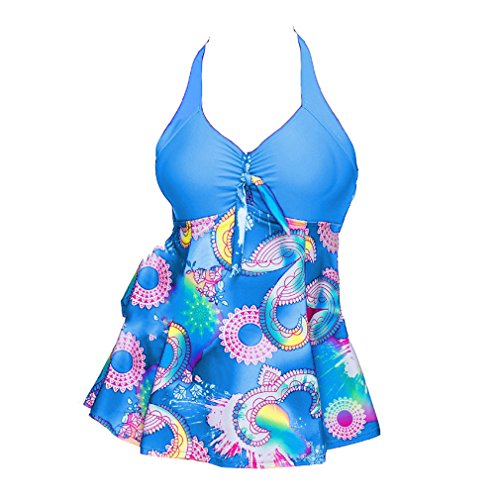 Costume Prospettiva Bikini Blu pezzi Bagno Costumi Tankini Set con Junkai Swimwear 5XL bagno due gonna S Beachwear Da Moda Stampa Donna con da Set Boyshort multicolore Cwx44qPT