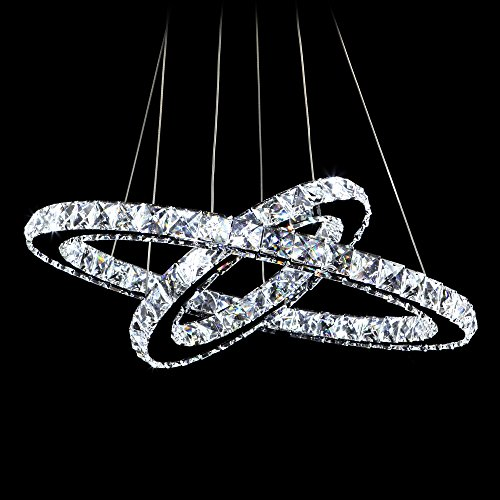 MEEROSEE Crystal Chandeliers Modern LED Ceiling Lights Fixtures Pendant Lighting Dining Room Chandelier Contemporary Adjustable Stainless Steel Cable 2 Rings DIY Design D19.7