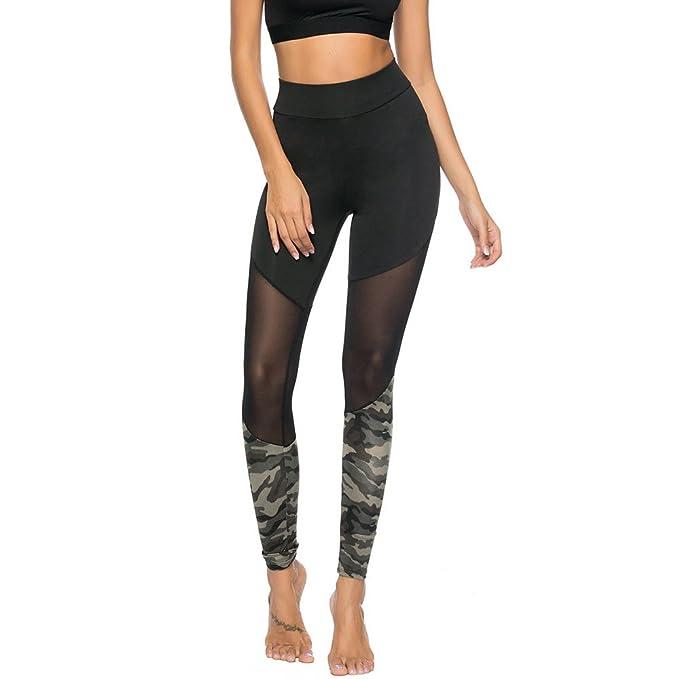 Pantalones Yoga Mujeres, Yusealia Cintura Alta Costura de Camuflaje Puntadas Casual Leggins Pantalones Elasticidad de Moda Correr Leggings EláSticos De ...