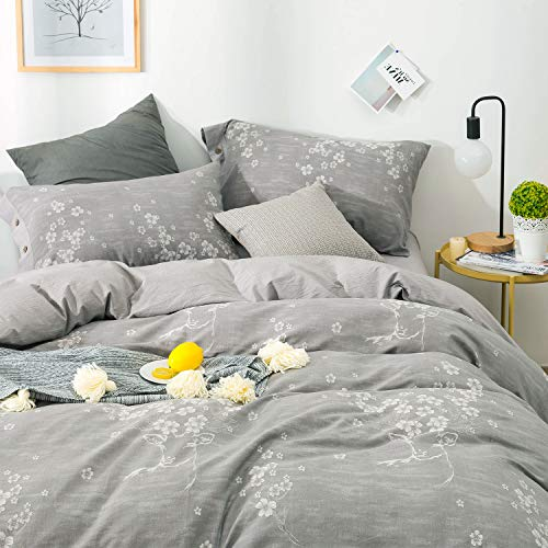 Deer Pattern - OREISE Duvet Cover Set Queen Size Washed Cotton Yarn, Jacquard Gray and White Deer and Floral/Flower Pattern 3Piece Bedding Set
