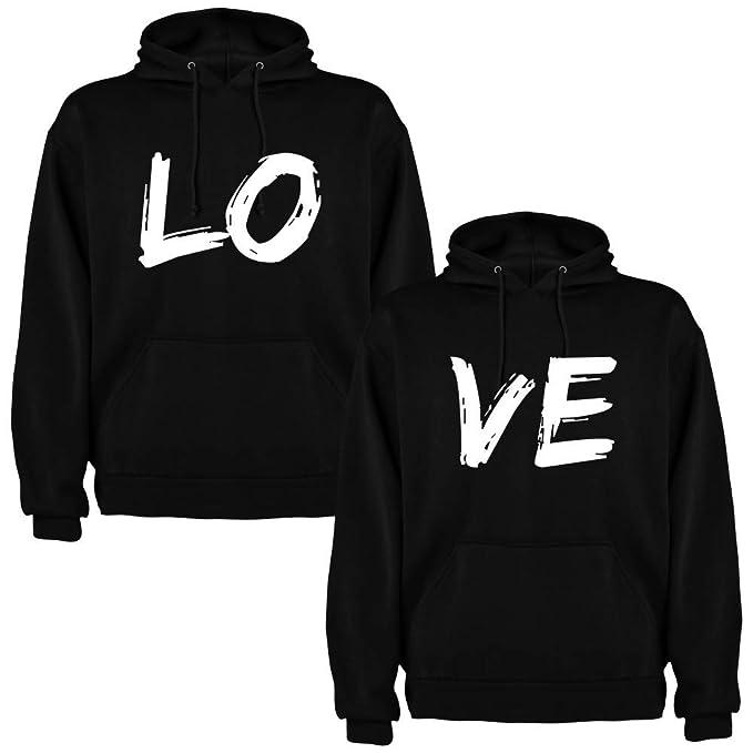 Pack de 2 Sudaderas Negras para Parejas Love Blanco (Mujer Tamaño L + Hombre Tamaño