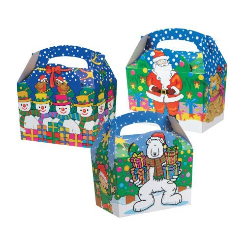 100 Childrens Kids Christmas Xmas Carry Food Meal Picnic Birthday Party Bag Boxes by Mustbebonkers by MustBeBonkers