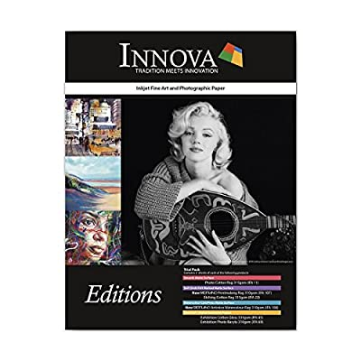 Innova Art Editions Fine Art 8.5x11in Sample Paper Pack - Photo Cotton Rag, Fabriano Printmaking Rag, Etching Cotton Rag, Fabriano Artistico Watercolor Rag, Exhibition Cotton Gloss and Photo Baryta