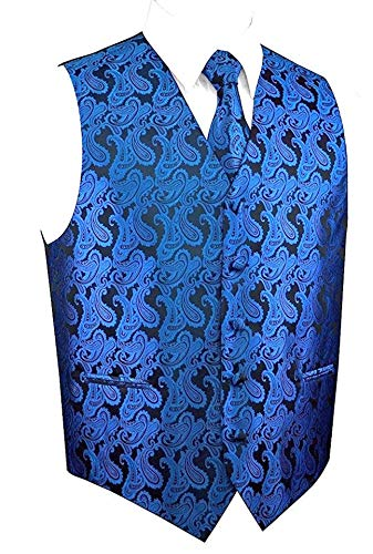 Brand Q Men's Royal Blue Paisley Design Vest NeckTie Pocket Square Set For Suit or Tuxedo 2XL