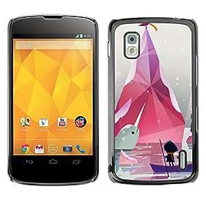 TopCaseStore / la caja del caucho duro de la cubierta de protección de la piel - Minimalist Pastel White - LG Google Nexus 4 E960
