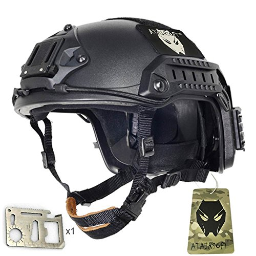 ATAIRSOFT Adjustable Maritime Helmet ABS for Airsoft Paintball(Black,M/L)