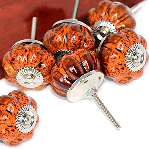(SunKni 6 Pack Ceramic Glazed Pumpkin Knobs for Kitchen Cabinets Cupboard Bathroom Cabinet Dresser Drawers Wardrobe Closet Door Knobs Vintage Round Hardware Ceramic Furniture Knobs and Pulls (Orange))