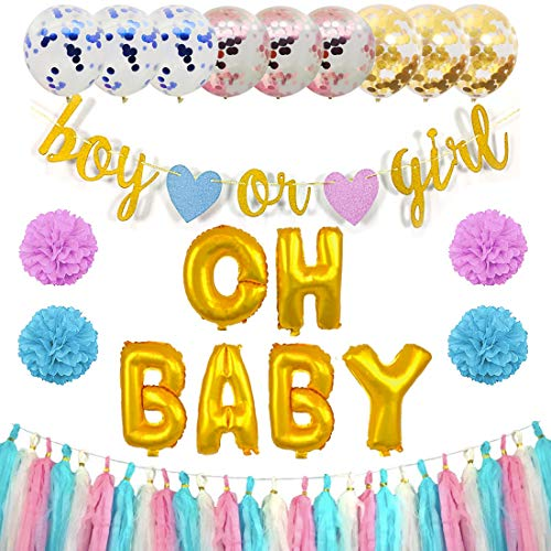 Gender Reveal Party Suppliers with OH Baby Foil Balloons, Baby Shower Decorations with Boy or Girl Banner, Pink Blue Gold Confetti Balloons, Paper Tassels, Pom Poms]()