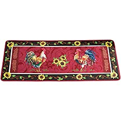 Collections Etc Cushioned French Country Sunflower Rooster 4' Long Foam Rug, Red