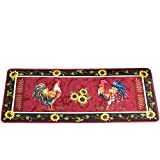 Collections Etc Cushioned French Country Sunflower Rooster 4′ Long Foam Rug, Red