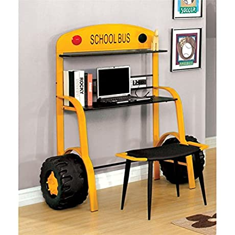 Furniture Of America Rowell Kids Desk With Stool In Yellow