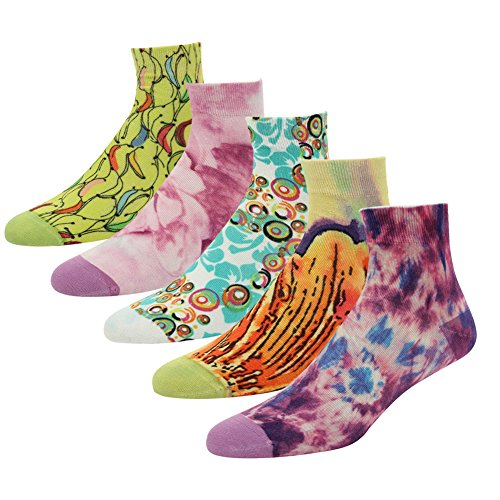 J'colour Women's Girls Youth Teen Comfortable Funky Colourful Patterned Cool Novelty Ankle Socks 5 Pairs, Color 2, One Size