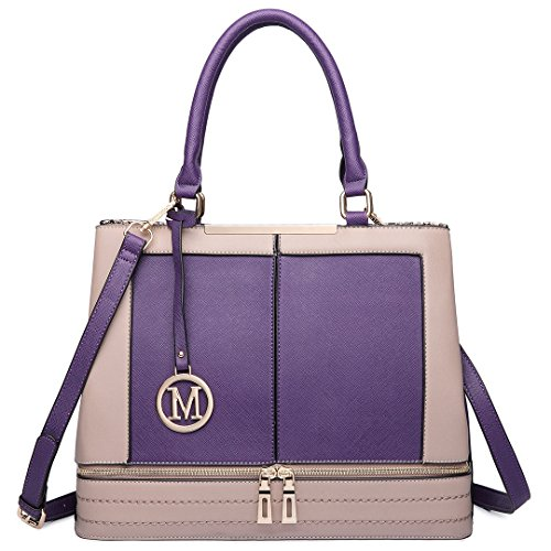 Strap Lulu Tote Ladies with Women Shoulder Handbag Top Miss Casual Purple Handle Leather Design for Bags 7d88wgqH