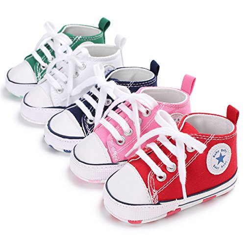 Baby Boys Girls Classic Canvas Sneaker High Top Lace Up Infant First