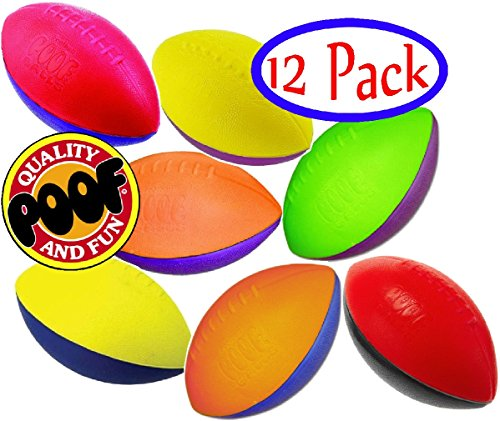 POOF-Slinky 500S/12 9.5-Inch Foam Footballs, Case of 12 Assorted Colors by POOF