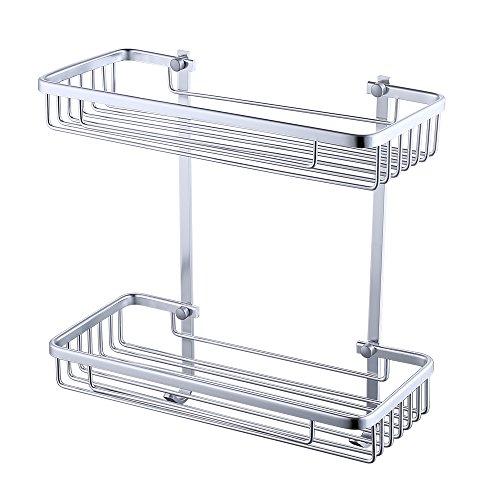 KES Aluminum Bathroom 2-Tier Shelf Basket Wall Mounted Silver Sand-Sprayed, A4026B