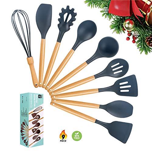Silicone Cooking Utensils Kitchen Utensil Set, 9 Pieces Kitchen Cooking Tool with Natural Wooden Handles for Nonstick Cookware, Silicone Spatula Set Tools for Cooking, Hand Wash (Dark Gray)