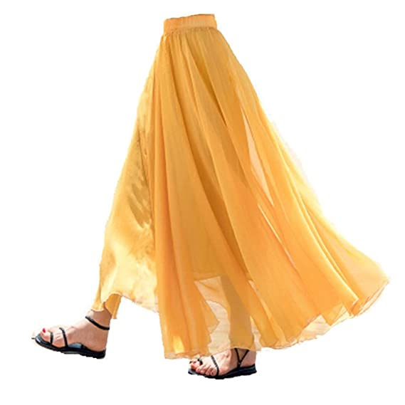 bb0bf40f528b34 Emoyi Women Soft Vintage Bohemian Chiffon Maxi Bouffancy Long Skirt Beach  Dress (S, Yellow