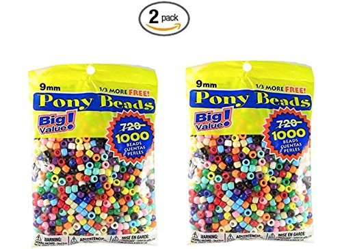 Pony Beads Multi Color 9mm 1000 Pcs in Bag (2) Multi Color Beads