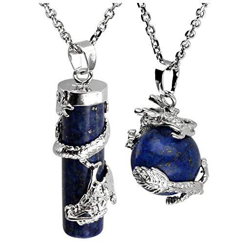 Jovivi 2pc Dragon Wrapped Dyed Lapis Lazuli Round Ball Cylinder Gemstone Healing Crystal Pendant Necklace -
