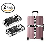 YEAHSPACE 2 Pack Husky Snowflakes Luggage Strap Straps TSA Combination Lock Adjustable Travel Belts Suitcase Belt