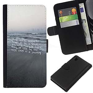 All Phone Most Case / Oferta Especial Cáscara Funda de cuero Monedero Cubierta de proteccion Caso / Wallet Case for Sony Xperia Z1 L39 // Beach Text Motivational Gray Sea