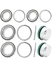 2 Set Fits for 1-3/8'' 1-1/16'' Axles Trailer Wheel Hub Bearings Kit, L44649/10 L68149/10,171255TB Seal OD 1.719'', Dust Cover and Cotter Pin.