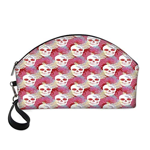 Coral Decor Small Portable Cosmetic Bag,Double Exposured Graphic Mexican Skull Bones and Exotic Creepy Dead Icon with Plants For Women,One size