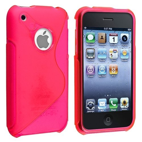 Generic Hot Pink Rubber TPU GEL Hard Case Skin Cover for Apple Iphone 3g 3gs 8gb 16gb