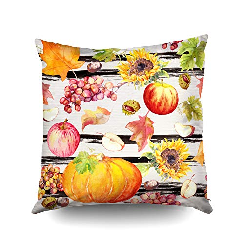 (ROOLAYS Decorative Throw Square Pillow Case Cover 20X20Inch,Cotton Cushion Covers Halloween Thanks Giving Pattern Fruits Vegetables Both Sides Printing Invisible Zipper Home Sofa Decor)