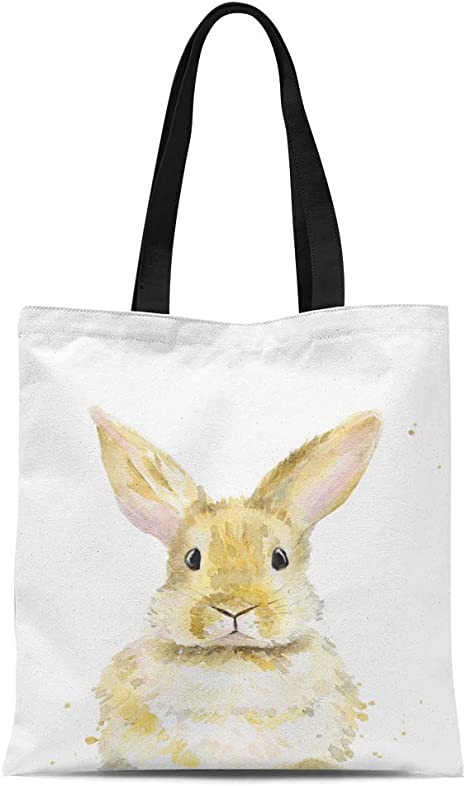 Organic Canvas Embroidered Easter Bunny Tote Bag Reusable