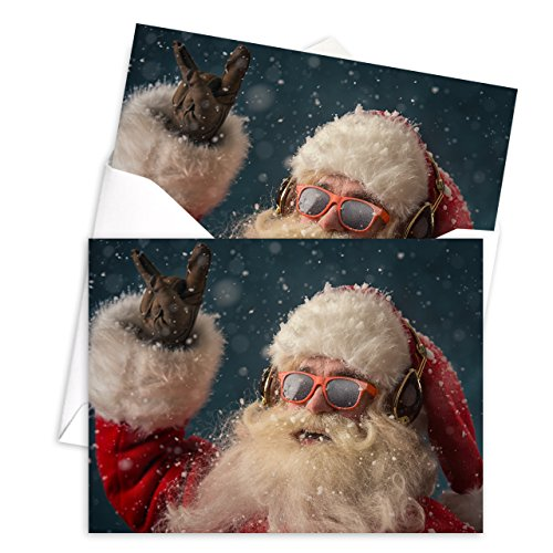 Rock 'n Roll Santa Holiday Card Pack - Set of 25 cards - 1 design, versed inside with envelopes Photo #3