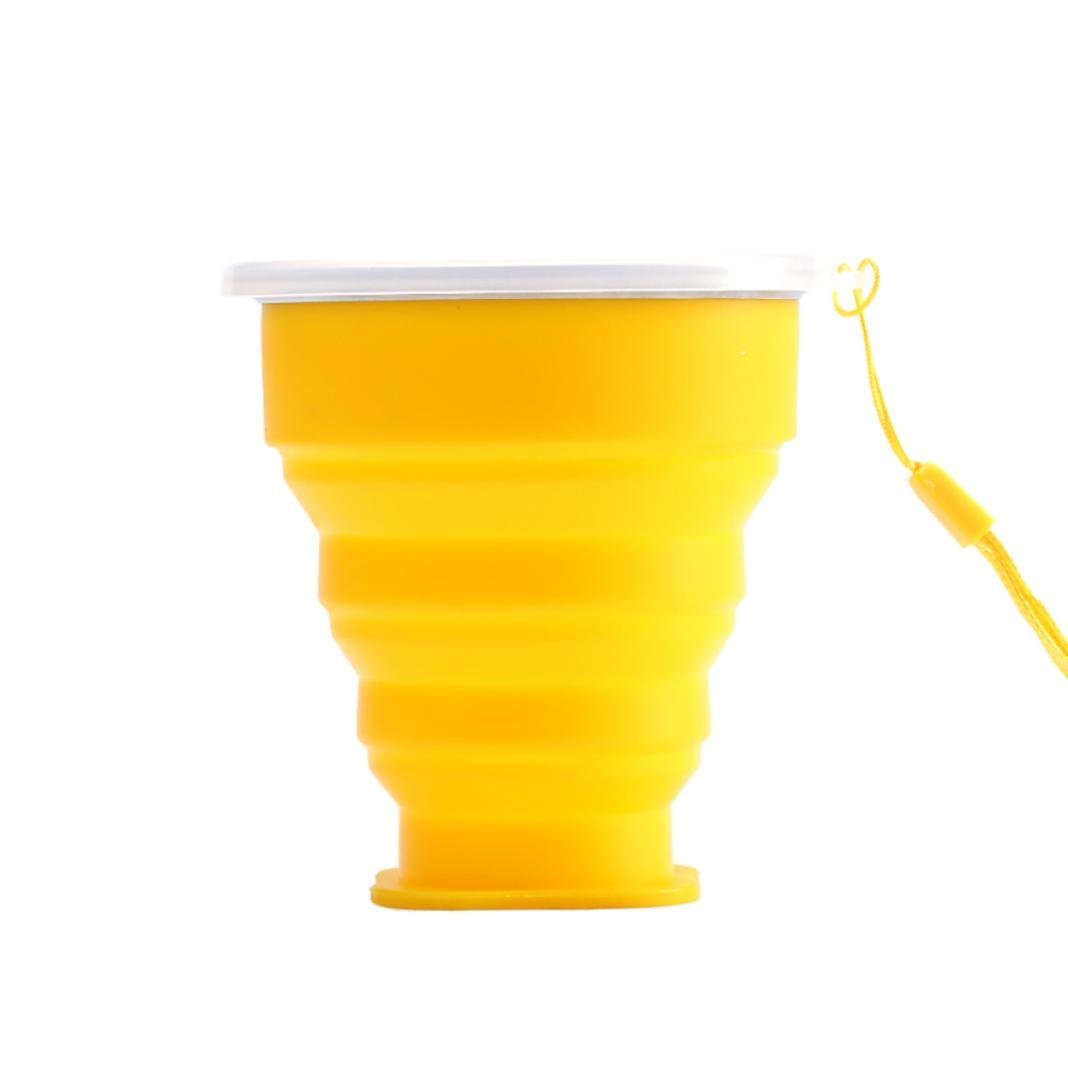 Dressupbeauty Scalable Hiking Water Portable Bottle Silicone Telescopic Portable Cups For Travelling Collapsible Folding Cup (Yellow, Normal)