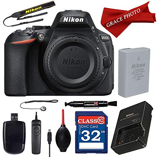 Nikon D5600 24.2MP DSLR Camera with Bluetooth and Wi-Fi with NFC (Body Only) and Accessory Kit (10 Items)