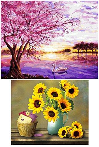 eGoodn 2 Pack Diamond Painting Full Drill DIY Art Beads Cross Stitch Kit, Cherry Blossoms and Warm Sunflower Vase, No Frame (Beaded Blossom)