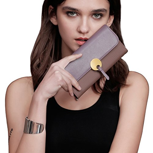 (Fioretto 20% OFF Ladies Gifts Women's Leather Wallet ID Card Cases Money Organizers Italian Genuine Cowhide Leather Ladies Credit Card Clutch Purse Pink-purple)