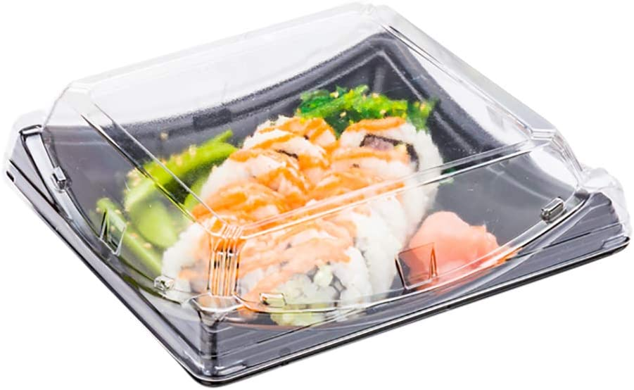 Roku 7.25 Inch Sushi Trays, 100 Disposable Sushi Containers With Lids - Square, Take Out Containers For Appetizers, Entrees, or Desserts, Black Plastic To Go Containers - Restaurantware