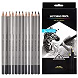 Professional Drawing Sketching Pencil Set - 12 Pieces Drawing Pencils 10B, 8B, 6B, 5B, 4B, 3B, 2B, B, HB, 2H, 4H, 6H Graphite Pencils for Beginners & Pro Artists: more info