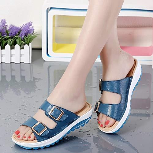 Piattaforma Sandali in 41 donna con pelle regolabili Nero suola fibbie a ZHRUI Dimensione EU sciabola con Colore per Blu Scarpe Y0Xwdx